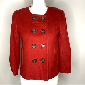 J. Crew Red Double Breasted Wool Coat Size 2